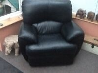 SOLD. Black leather lazy boy arm chair