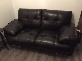 Soft dark brown leather sofa & armchair (large 2 seater)