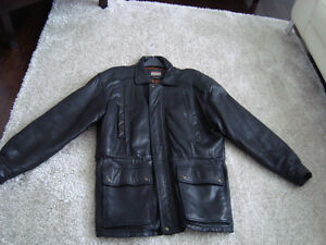 Manteau de cuir/ Black leather jacket West Island Greater Montréal image 3