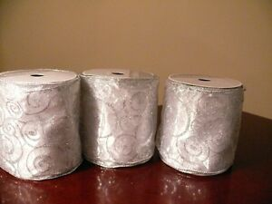 3 rolls Wired Silver ribbon
