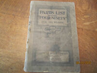 Parts List for 1919 Chev Model Four-Ninety