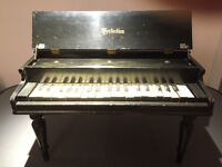 "Vintage ""Perfection"" black, toy, mini-grand piano. Circa 1935."