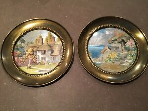 Set of two vintage foil art decorative wall plates (England)