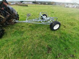 Quad atv 4x4 tractor towable logic round bale transport trailer
