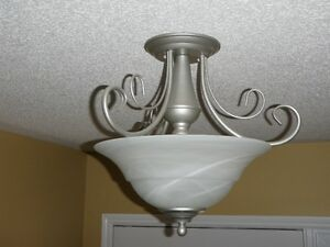 1 Chandelier and 2 matching semi-flush mount ceiling lights