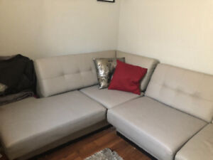 Light grey sectional leather couchfrom bad boy $600 OBO