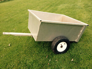 Aluminum utility dump trailer for an ATV or garden tractor