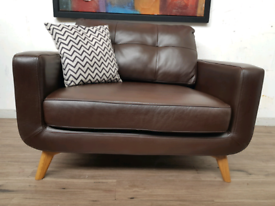John lewis Barbicsn oversized armchair in brown leather RRP £1500