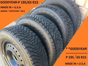 195/65 R15 GOODYEAR  NORDIC (4) TIRES ON RIMS