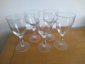 5 cut glass glasses