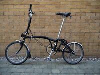 Brompton M3L Fold up Cycle, Black in very good condition