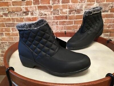 Front Zip Boots - Weatherproof Black Quilted Zip Front Grace Ankle Boot New
