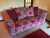 Settee; bed settee and matching footstool
