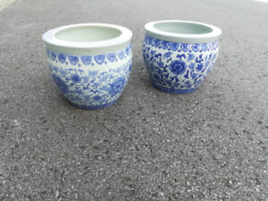 "These are 16"" Floral Blue & White Porcelain Fishbowl Planters"