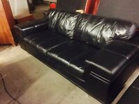 As new black leather 3 11 leather sofa set