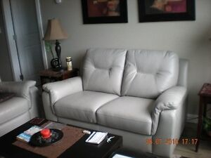 LEATHER LOVESEAT & CHAIR