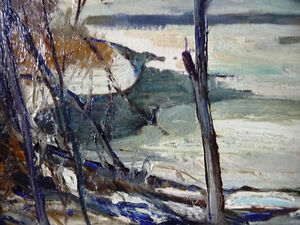 """Original Oil Painting, H. Oswald Stacey  OCA """"January Thaw"""" 1945 Stratford Kitchener Area image 4"""