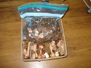 One Plastic bag of 98% Copper American Pennies, 15 Pounds Mixed