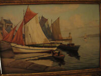 Boats and water large painting 1964