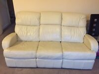3+2 creme color leather manual recliner sofas