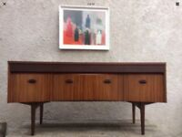 Mid Century Danish Style Zebrano & Rosewood Veneer Dressing Table Desk Sideboard