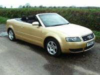 2004 AUDI A4 1.8T QUATTRO 4X4 CONVERTIBLE, 6 SPEED GEARBOX, METALLIC GOLD