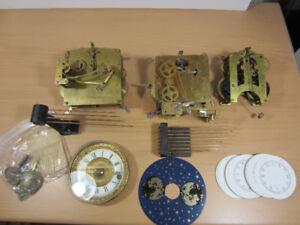 3x Clock Movements, German British USA +EXTRAS /Steampunk Gears