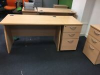 15 x superb quality 120 x 60 cm straight desks with side draw @ just £75 a set Only!!