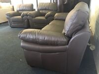 Ex Littlewoods Portland brown leather three piece suite 3 seater sofa and two armchairs chocolate