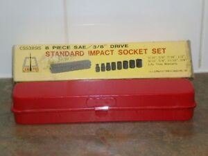 "NEW! CAN-PRO 8 pc. SAE - 3/8"" dr. STANDARD IMPACT SOCKET SET"