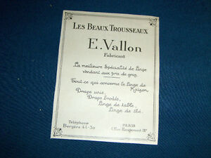 LES BEAUX TROUSSEAUX E. VALLON FABRICANT-1923 ADVERTISEMENT-RARE