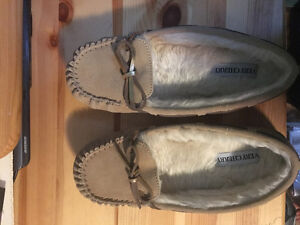 Brown moccasin slipper shoes