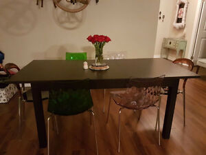 Modern dinning table with 6 designer brand chairs