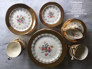 Vintage Fine Bone china dinnerware set 22kt gold briar rose