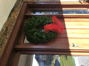 "Holiday 30"" fresh fir wreathes with red mesh bow"