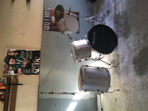 Bur&wood used drum set with mic stand and drumsticks