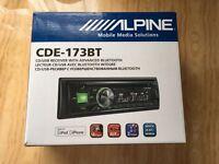 Alpine Cde-173Bt car audio system. New Boxed. Warranty. Manuals.