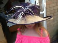 purple and beige Jacques Vert hat