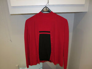 Red & Black Short Sleeve Shirt with sweater