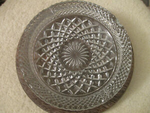 HUGE VINTAGE CLEAR GLASS HEAVILY EMBOSSED ASH TRAY
