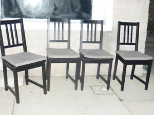 4 Black DINNING ROOM TABLE CHAIRS No Cushions