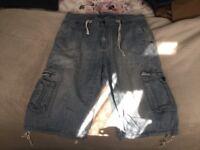 Mens cargo jean shorts (L)