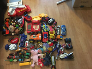 Various toys cars trucks action figures 70+ pieces