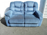 Blue Double Recliner Couch