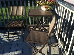 Small metal patio table and two chairs