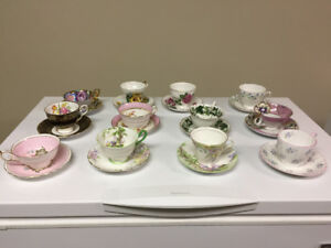 ASSORTED VINTAGE CHINA CUPS & SAUCERS ($10 each)