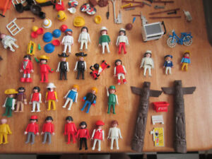 Large Lot of Playmobil Esso Garage, Space, Native American, West