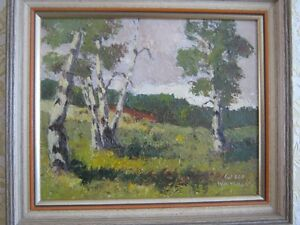 BIRCHES ,OIL PAINTING, ARTIST ALFRED WHITEHEAD AMHERST N.S.