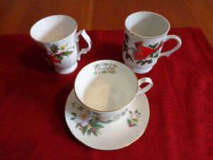 VINTAGE Bone China December Teacup & Christmas Mugs: All for $10