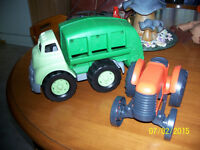 """ GREEN"" TOYS MADE IN USA TRACTOR AND GARBAGE TRUCK"